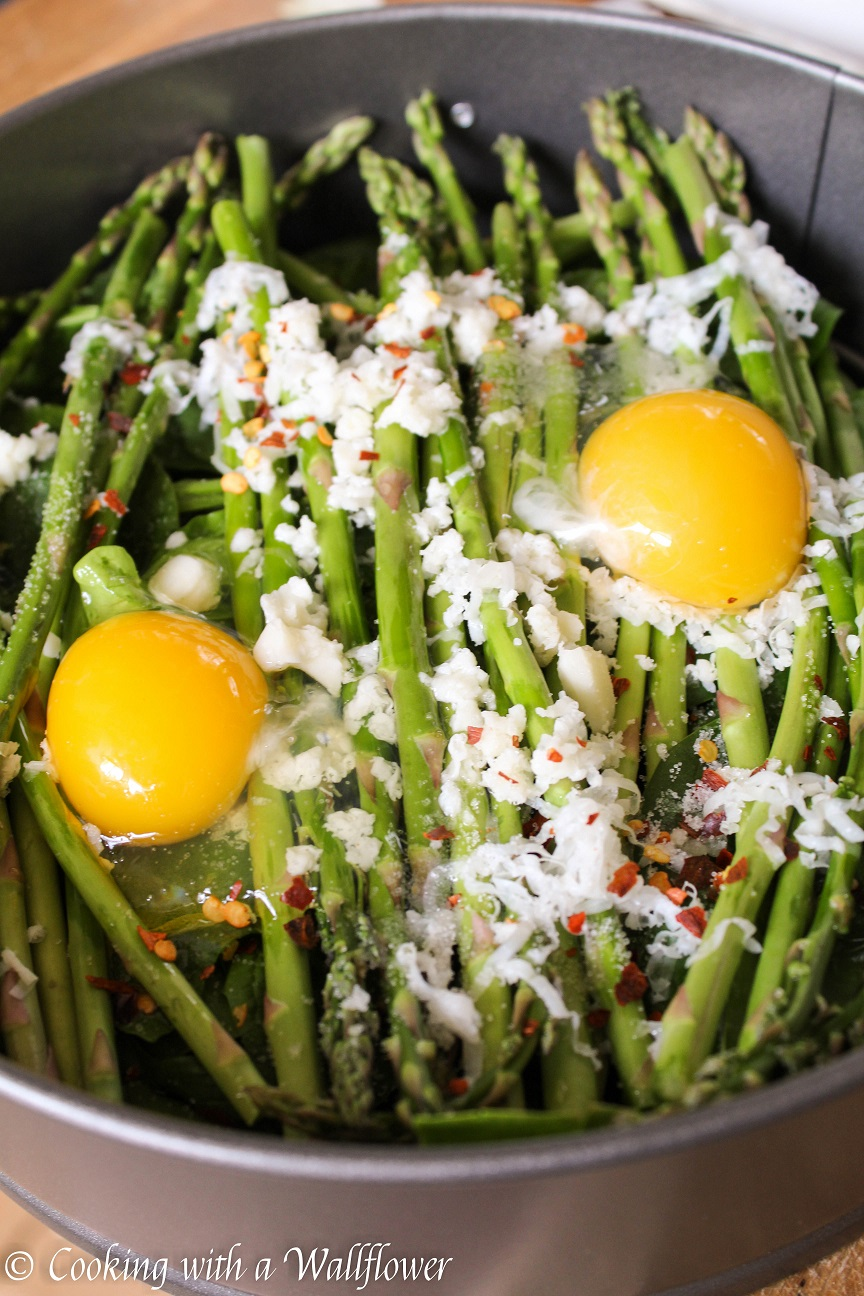Baked Eggs over Asparagus and Spinach