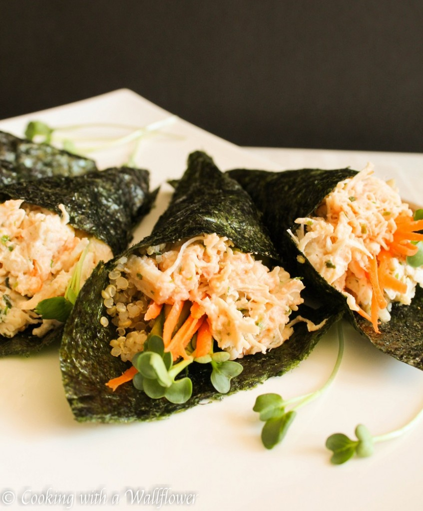 Sriracha Mayo Chicken Quinoa Hand Rolls | Cooking with a Wallflower