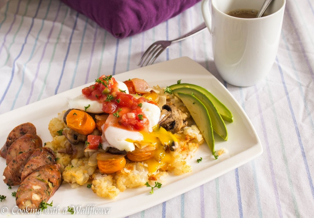 Poached Eggs with Roasted Vegetables over Smashed Tater Tots | Cooking with a Wallflower