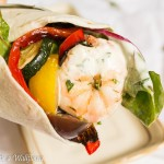 Shrimp and Roasted Vegetable Wrap with Garlic Buttermilk Ranch Dressing