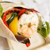 Shrimp and Roasted Vegetable Wrap with Garlic Buttermilk Ranch Dressing | Cooking with a Wallflower