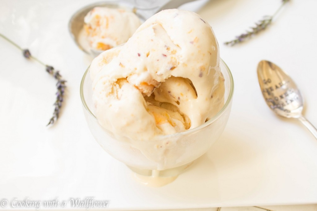 No Churn Peach Lavender Ice Cream | Cooking with a Wallflower