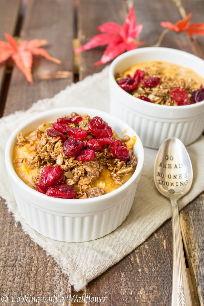 Pumpkin Pie Maple Oatmeal with Granola and Cranberries | Cooking with a Wallflower