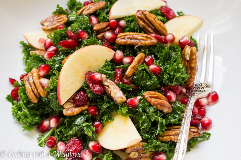 Kale Salad with Cranberries, Apples, and Candied Pecans | Cooking with a Wallflower