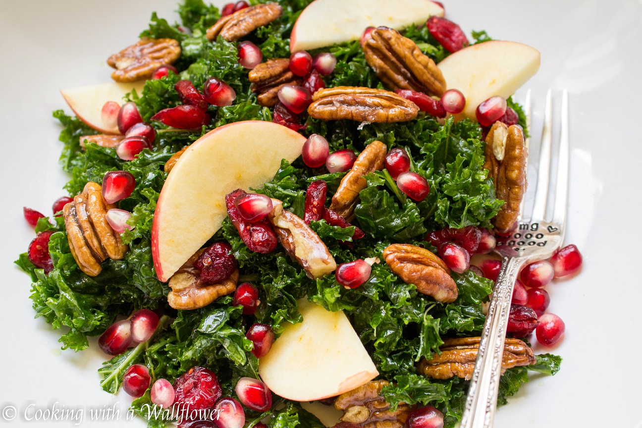 Kale Salad with Cranberries, Apples, and Candied Pecans | Cooking with ...