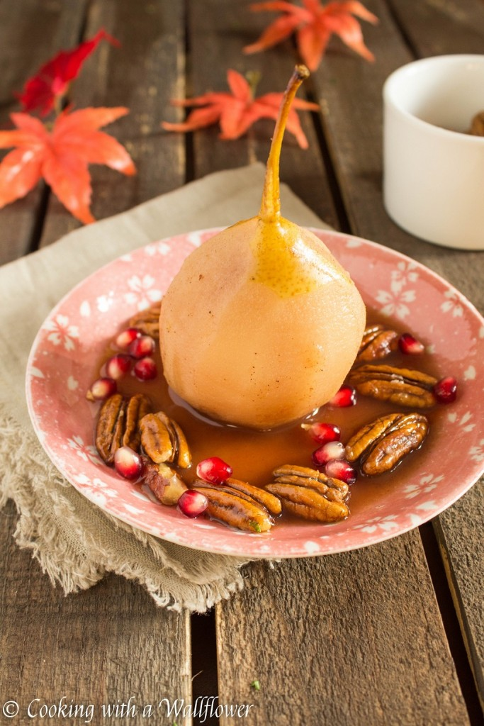 Poached Pear with Candied Pecans and Pomegranate | Cooking with a Wallflower