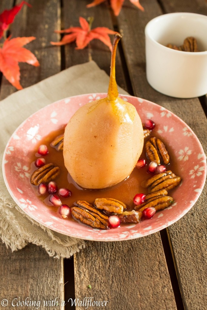 Poached Pears with Candied Pecans and Pomegranate - Cooking with a ...