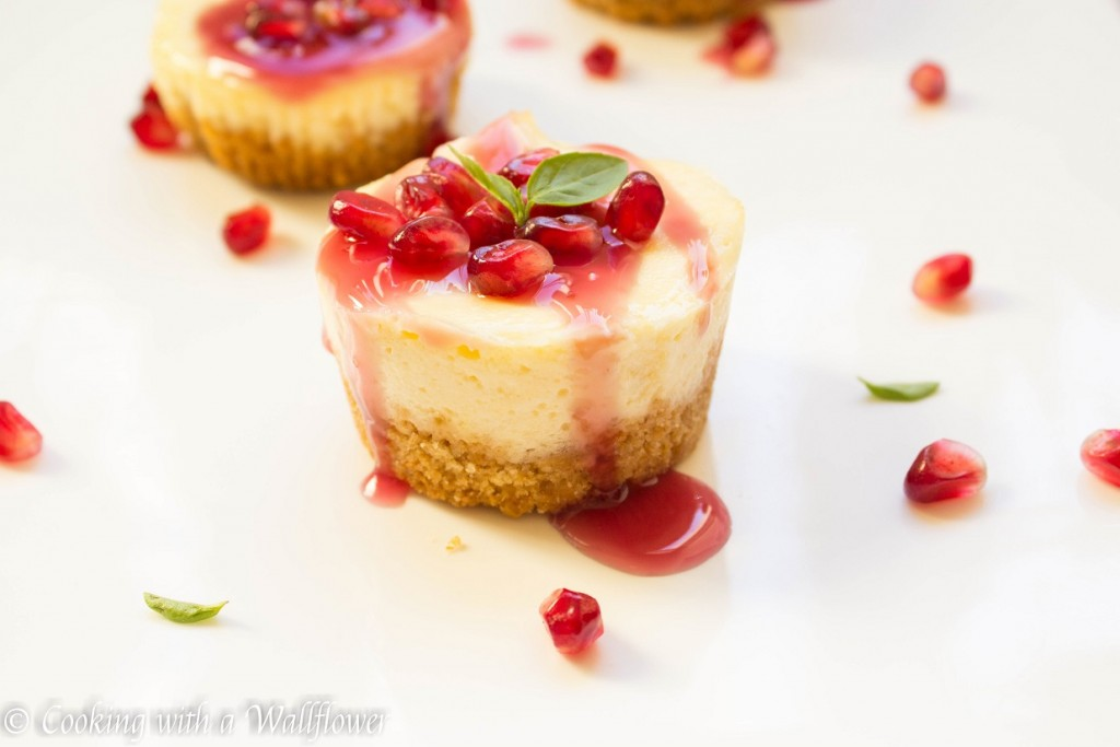 Mini Vanilla Cheesecake with Pomegranate Sauce | Cooking with a Wallflower