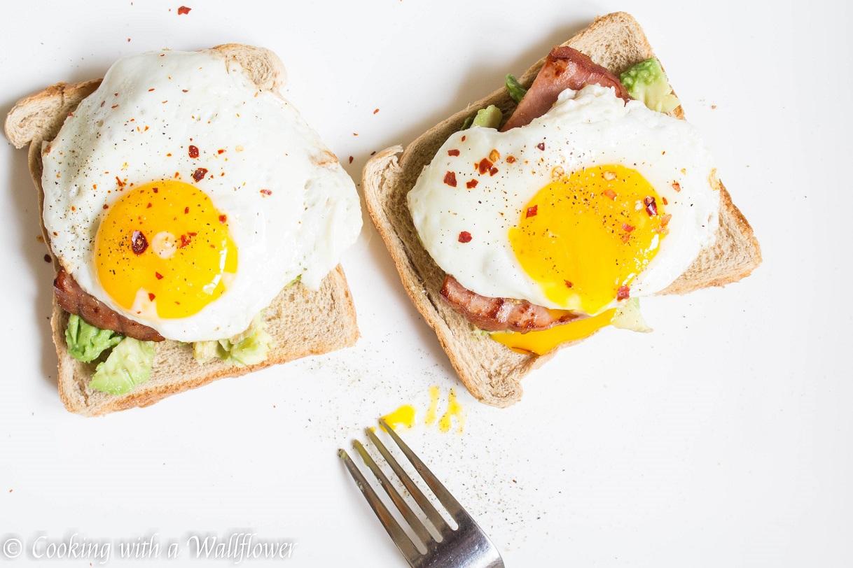 Avocado Toast with Sunny Side Egg and Ham