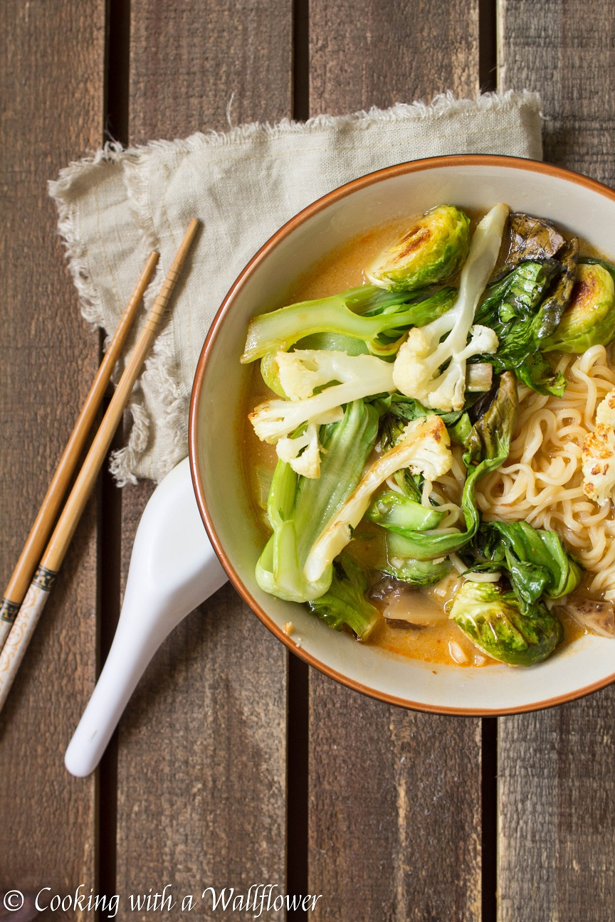 Roasted Vegetable Spicy Miso Ramen With Shiitake Mushrooms Cooking With A Wallflower