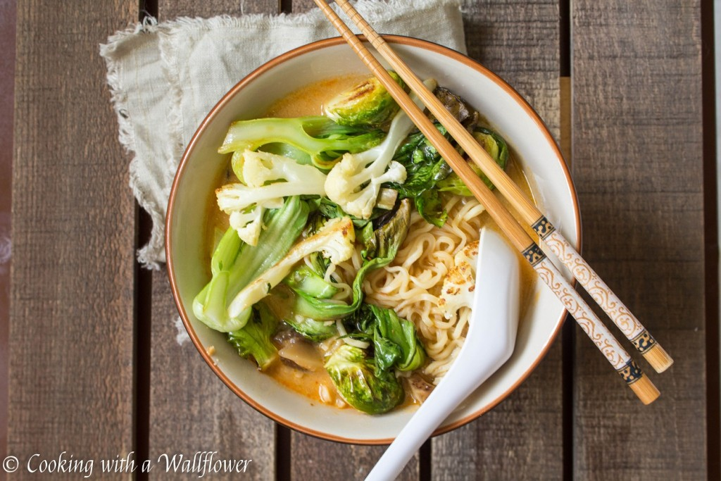 Roasted Vegetable Spicy Miso Ramen with Shiitake Mushrooms | Cooking with a Wallflower