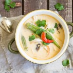Spicy Thai Chicken Coconut Soup with Okra and Mushrooms