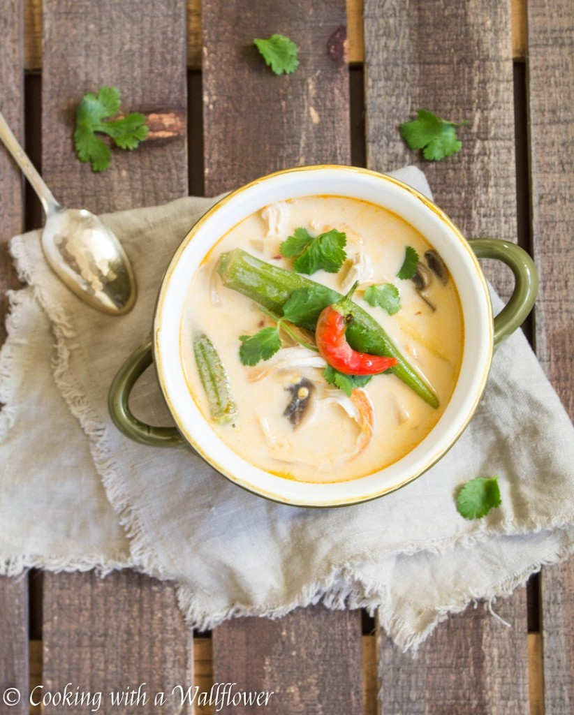 Spicy Thai Chicken Coconut Soup with Okra and Mushrooms | Cooking with a Wallflower