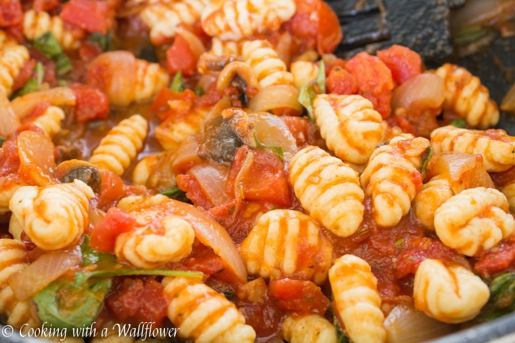 Fresh Basil and Mushroom Gnocchi in Sriracha Tomato Sauce | Cooking with a Wallflower