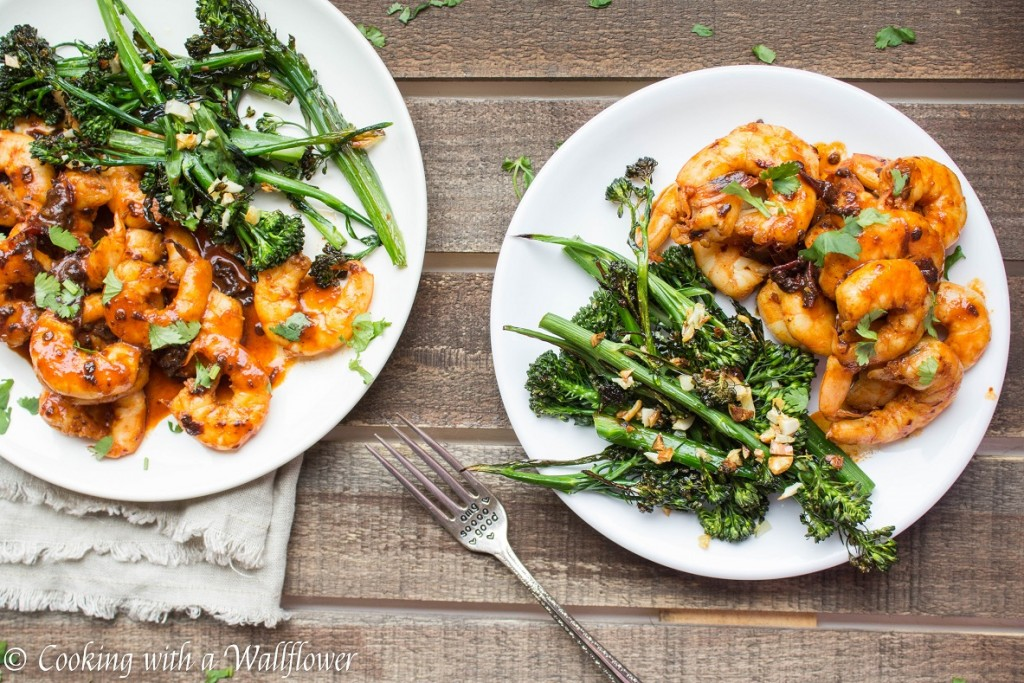 Honey Chipotle Shrimp with Roasted Garlic Broccolini | Cooking with a Wallflower