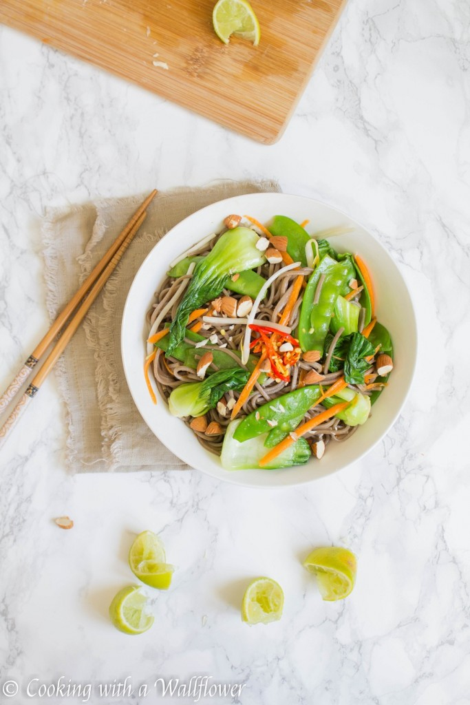 Fresh Vegetable Soba Noodle Salad with Soy Lime Vinaigrette | Cooking with a Wallflower