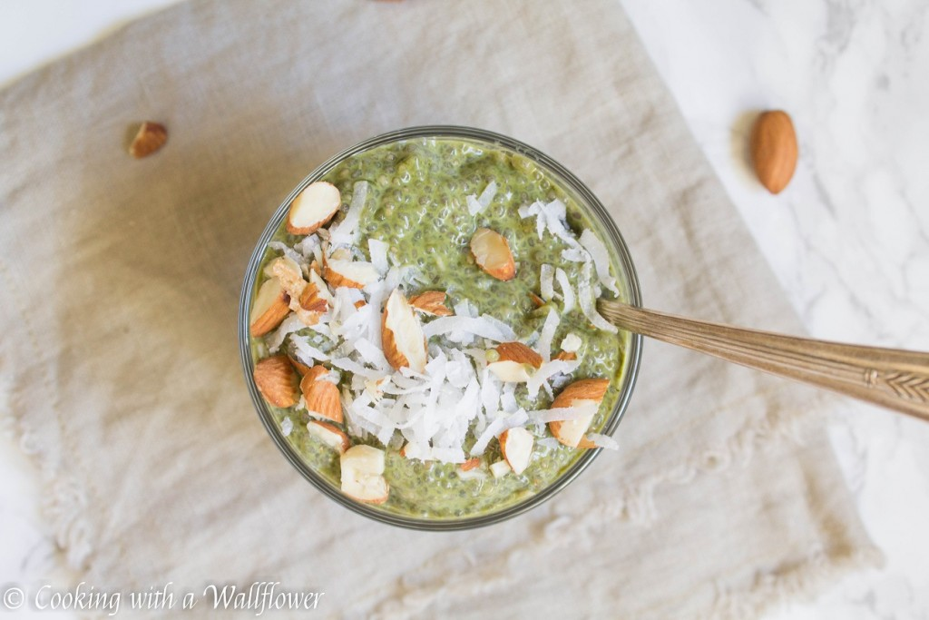 Green Tea Chia Pudding with Shredded Coconut and Almonds | Cooking with a Wallflower