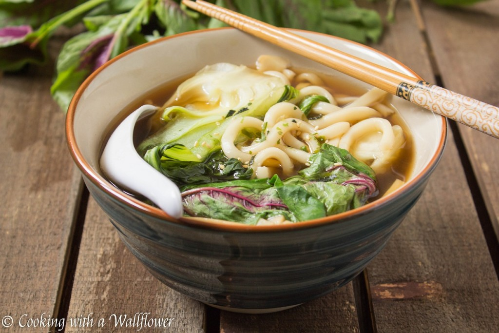 Simple and delicious, this Vegetable Udon Noodle Soup is filled with red amaranth, bok choy, and mushrooms, perfect for spring!
