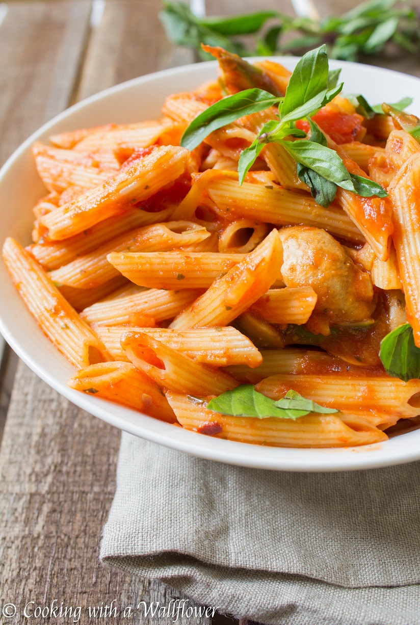 Penne in Spicy Marinara Sauce with Fresh Asparagus and Mushroom ...