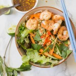 Garlic Shrimp Spring Roll Bowls with Garlic Tamarind Vinaigrette