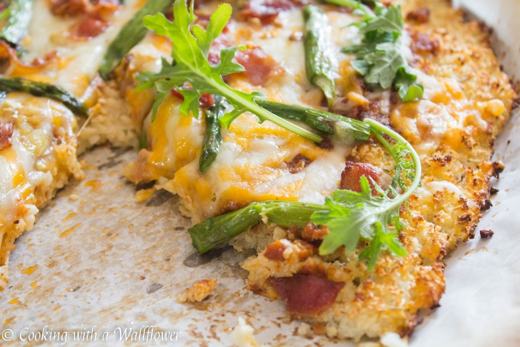 Roasted Asparagus Bacon Cauliflower Crusted Pizza | Cooking with a Wallflower