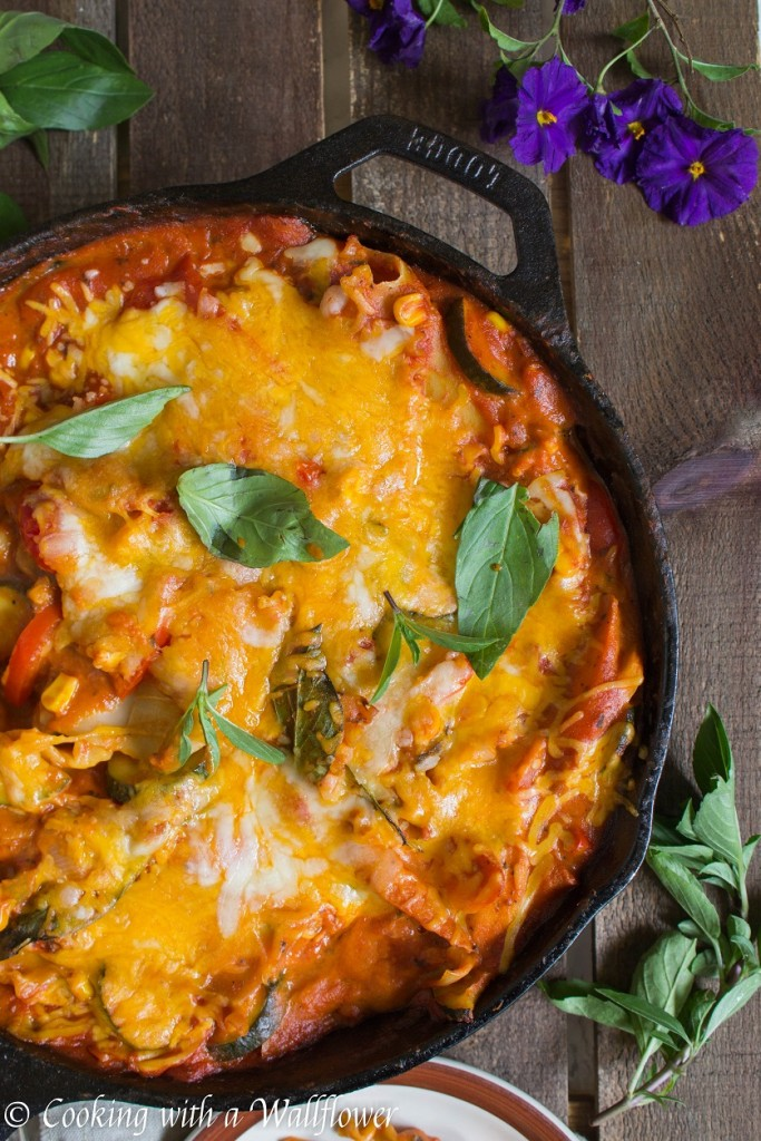 Spicy Chipotle Summer Vegetable Skillet Lasagna | Cooking with a Wallflower