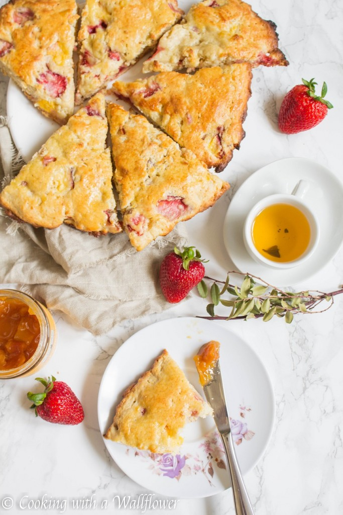 Strawberry Peach Buttermilk Scones | Cooking with a Wallflower