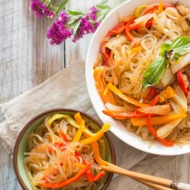 Spicy Korean Glass Noodles with Sweet Peppers and Shiitake Mushrooms | Cooking with a Wallflower