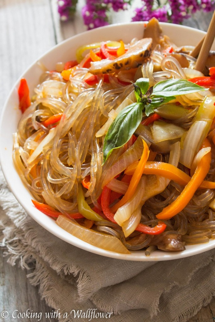 Spicy Korean Glass Noodles with Sweet Peppers and Shiitake Mushrooms   Cooking with a Wallflower