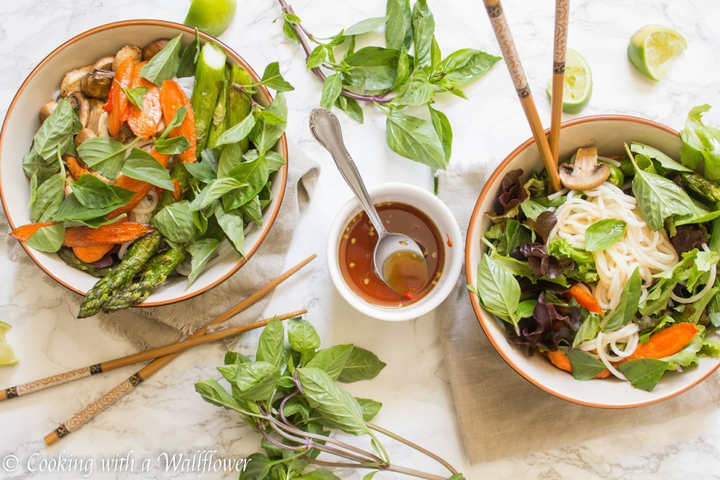 Roasted Summer Vegetable Spring Roll Bowls with Tamarind Sesame Vinaigrette | Cooking with a Wallflower