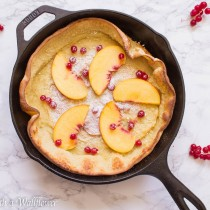 Vanilla Dutch Baby Pancake with Red Currants and Peaches | Cooking with a Wallflower