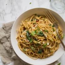 Pumpkin Kale Pasta Carbonara | Cooking with a Wallflower