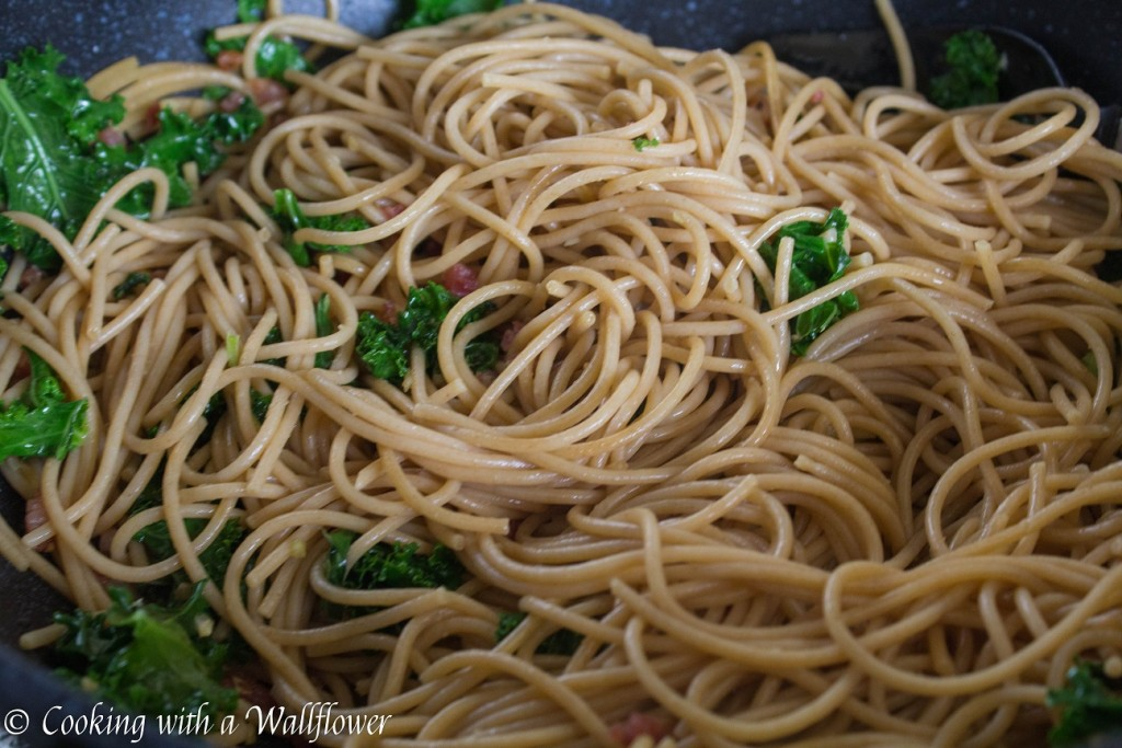 Pumpkin Kale Pasta Carbonara | Cooking with a Wallflower