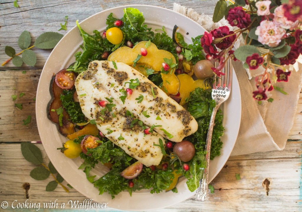 Tilapia with Roasted Maple Squash Kale Salad | Cooking with a Wallflower