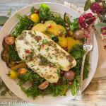 Tilapia with Roasted Maple Squash Kale Salad