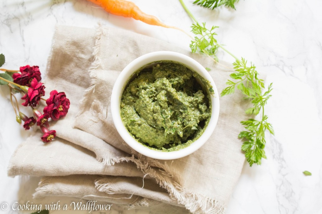 5 Minute Carrot Top Greens Pesto | Cooking with a Wallflower
