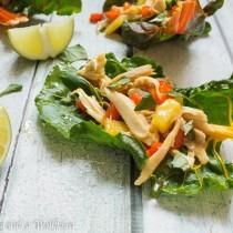 Pineapple Chicken Teriyaki Swiss Chard Wraps | Cooking with a Wallflower