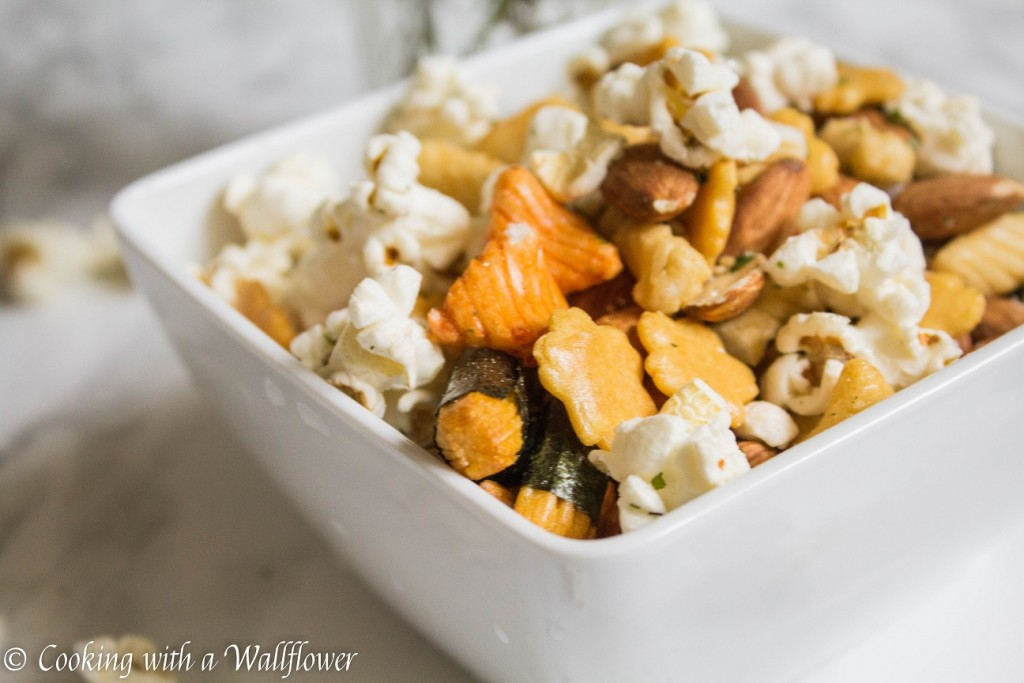 Popcorn Nuts Rice Cracker Snack Mix  | Cooking with a Wallflower