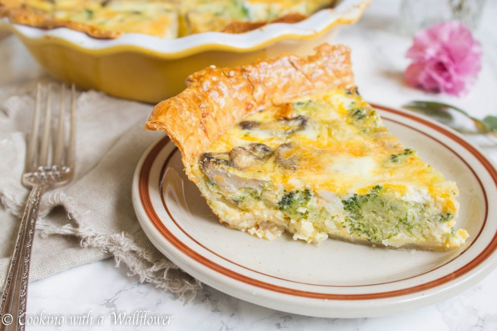 Broccoli Mushroom Cheddar Quiche | Cooking with a Wallflower