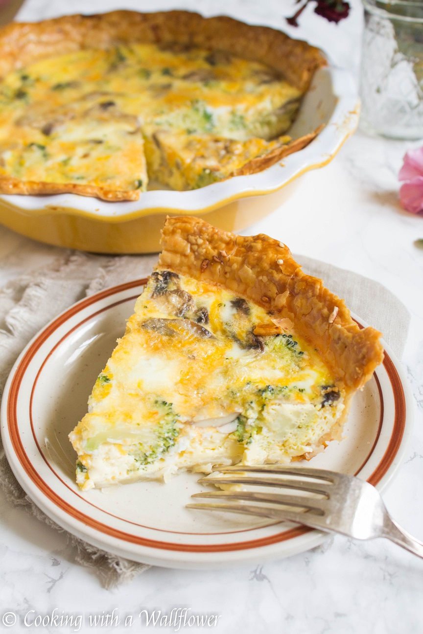 Broccoli Mushroom Cheddar Quiche - Cooking with a Wallflower