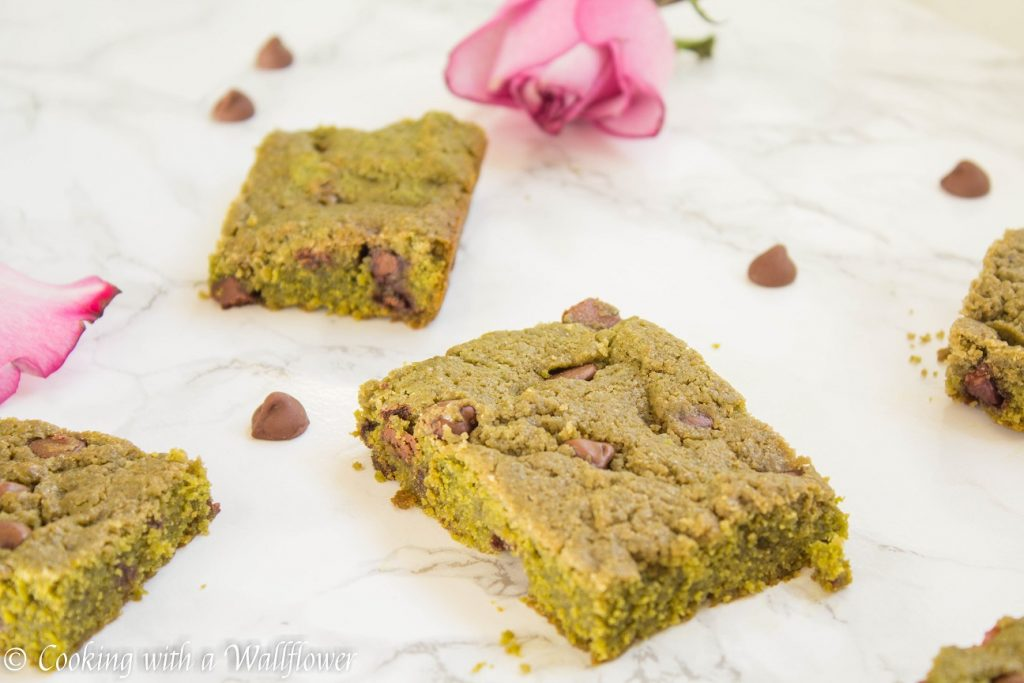 Green Tea Chocolate Chip Cookie Bars   Cooking with a Wallflower