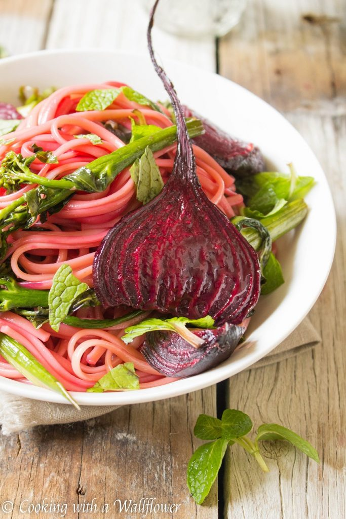 Roasted Beets, Broccolini, and Mushroom Linguine | Cooking with a Wallflower