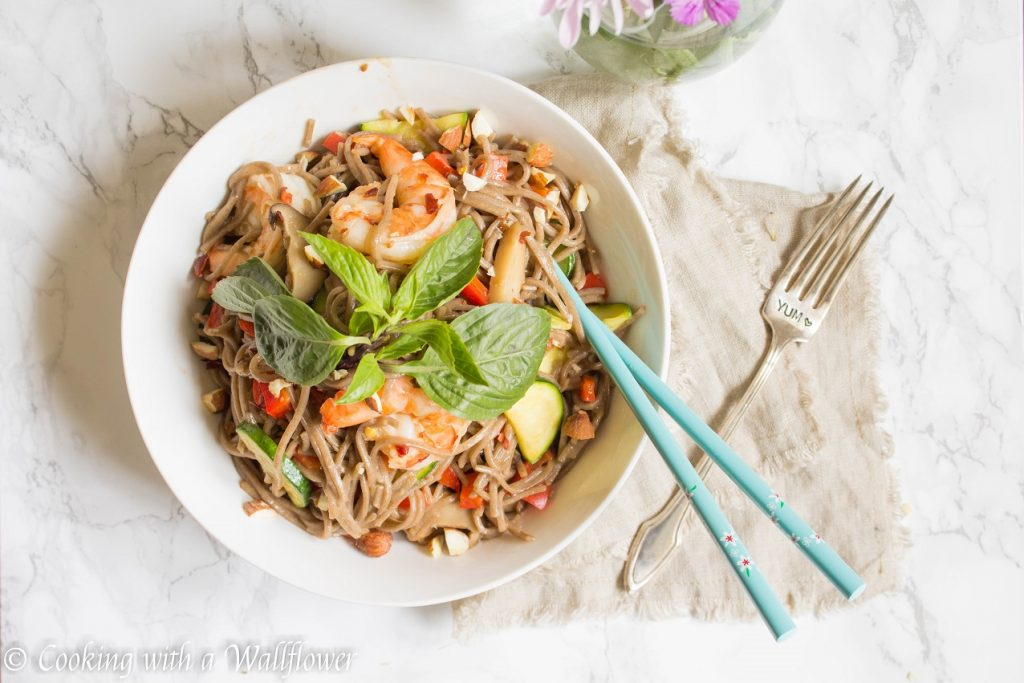 Sesame Shrimp Vegetable Soba Noodle | Cooking with a Wallflower