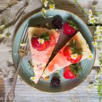 Small Batch Vanilla Cheesecake with Strawberry Rosé Wine Sauce