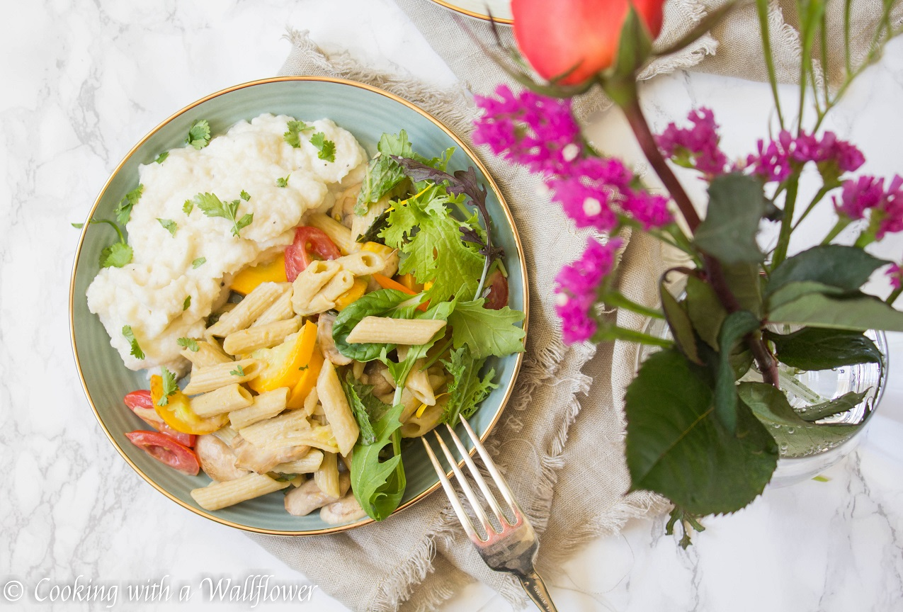 Zucchini Lentil Pasta with Mashed Cauliflower