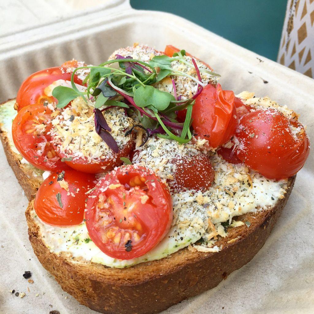 Tomato, Ricotta, Basil Toast