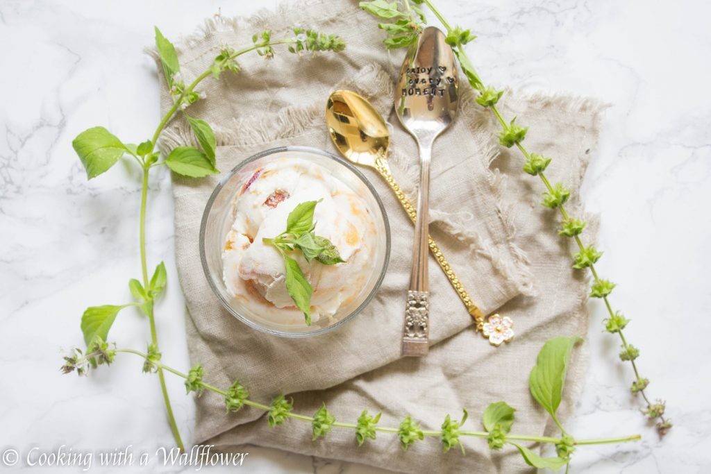 No Churn Roasted Peach Lemon Basil Ice Cream | Cooking with a Wallflower