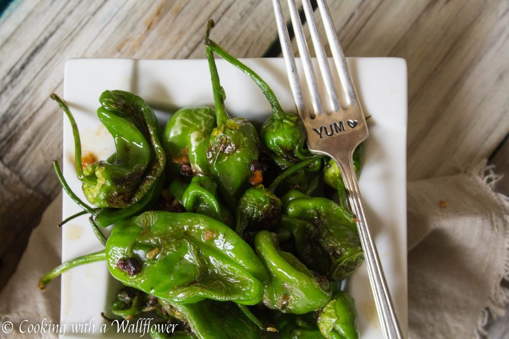 Pan Seared Padron Peppers with Honey Soy Sesame Dipping Sauce | Cooking with a Wallflower