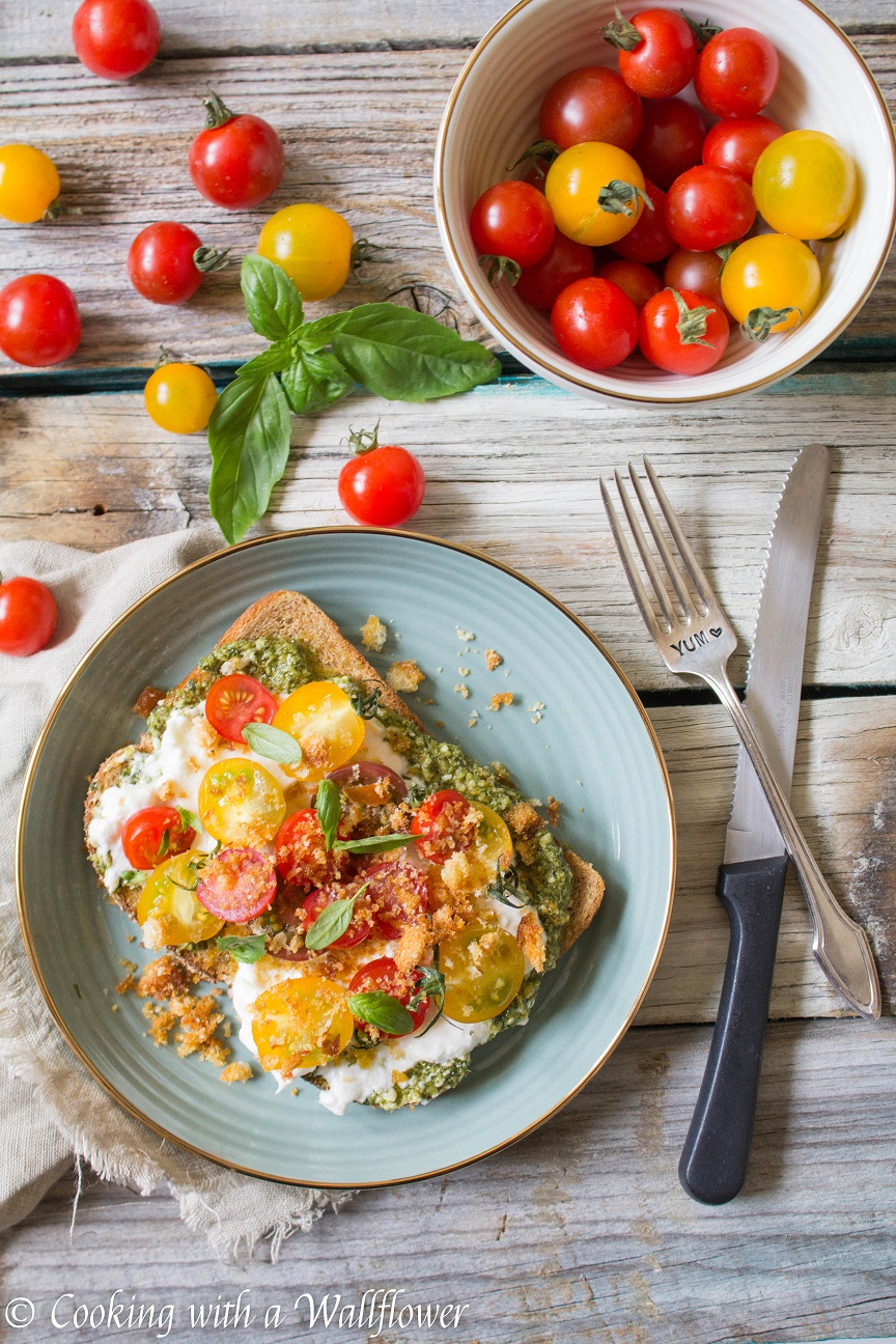 Tomato Basil Burrata Toast Cooking With A Wallflower