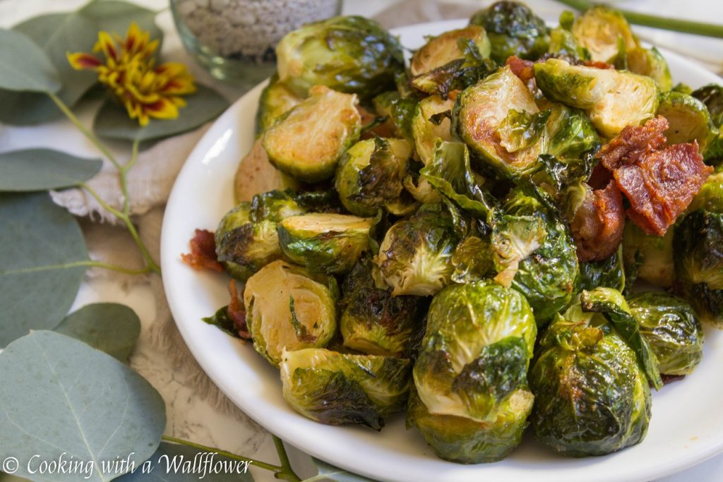 Roasted Garlic Brussels Sprouts with Bacon | Cooking with a Wallflower